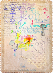 Background with chemical formulas