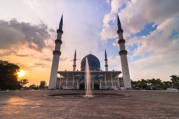 Sunset at shah alam mosque