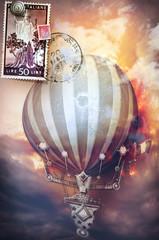 Rètro postcard with hot air balloon