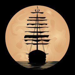 Ship on background of the moon
