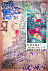Old map with stamps