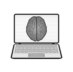 The image of the brain on a computer monitor