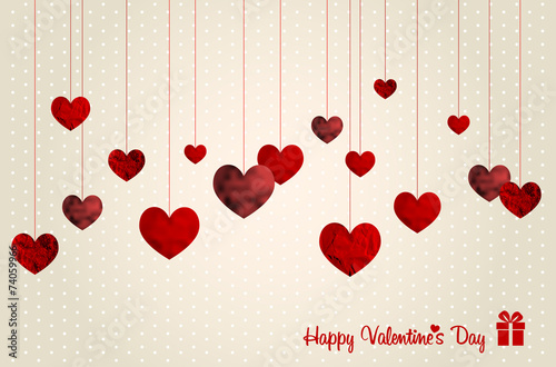Fototapeta Retro Valentines card with abstract hearts