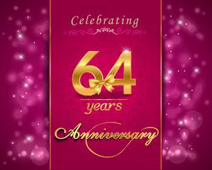 64 year celebration sparkling card, 64th anniversary