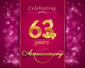 63 year celebration sparkling card, 63rd anniversary