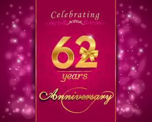 62 year celebration sparkling card, 62nd anniversary