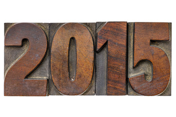 year 2015 in vintage wood type