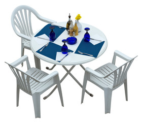 Plastic table with chairs isolated on white