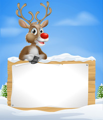 Cartoon Christmas Reindeer Sign