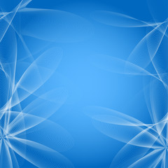 Vector abstract blue background with flowers of lines