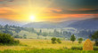 canvas print picture - mountain landscape and sunrise