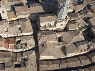 Case ed edifici, foto aerea, Ostra Vetere