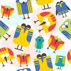 Seamless pattern cartoon bird