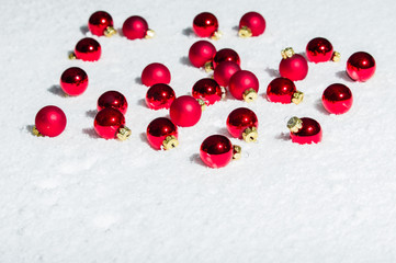 Shiny red Christmas ornaments