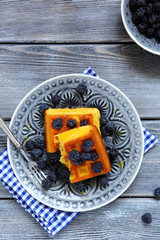 Breakfast - homemade waffles with blackberry