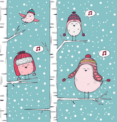 Winter illustration with birds singing on branch
