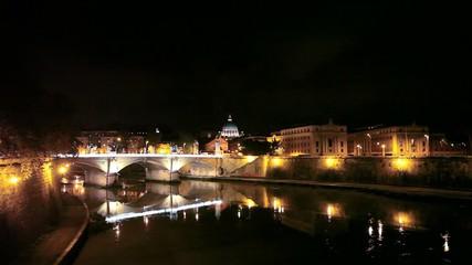 Ночной Рим. Вид на Ватикан