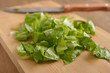 Oakleaf lettuce on a cutting board