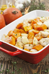 Chicken baked with pumpkin