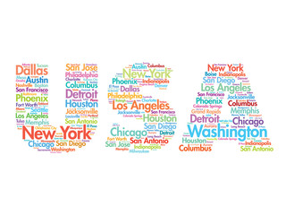 USA travel concept made with words cities names, vector collage