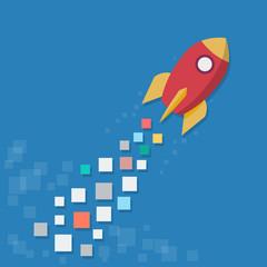 Concept of startup. Digital rocket