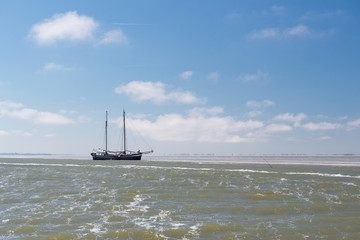 Clipper on Dutch wadden sea