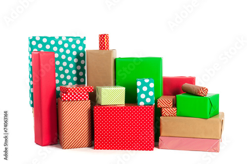 canvas print picture Red and green gifts