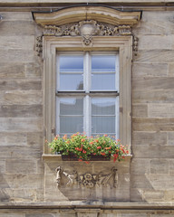 vintage home window with flowers, Bamberg, Germany