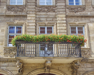 house  balcony with flowers, Bamberg, Germany