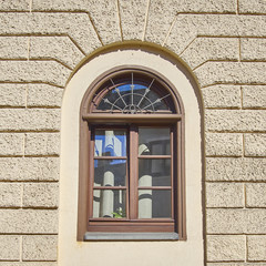 vintage home arched window, Munchen, Germany
