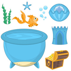 Set of cartoon fish, elements for aquarium decoration