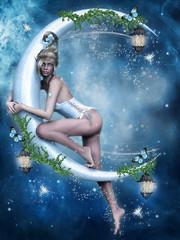 Baśniowa wróżka na księżycu z lampionami