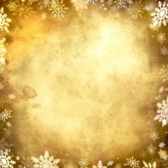 vintage snowflake golden background frame