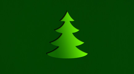 Stylization of a fir-tree on a green background of paper.