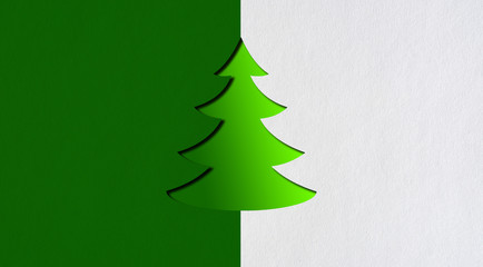The fir-tree which is cut out on green paper