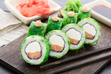Sushi rolls covered with chuka