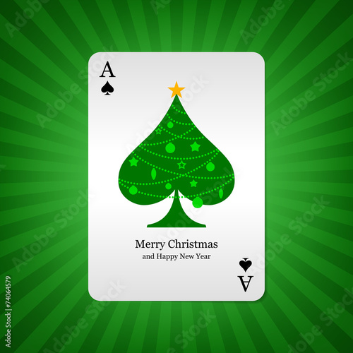 Playing card ace of spades on background - 74064579