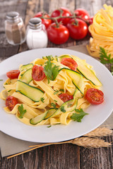 tagliatelle cooked with vegetables