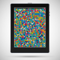Realistic detailed black tablet with mosaic on the touch screen