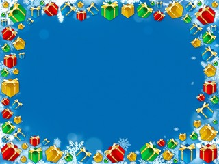 colorful christmas gifts snowflakes frame