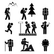 Hiking people icons - 74065549