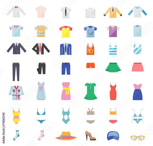 Large Set of Clothing Icons - 74065545