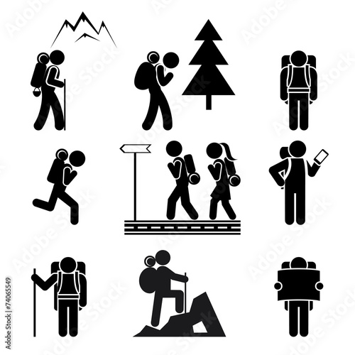 Fototapeta Hiking people icons
