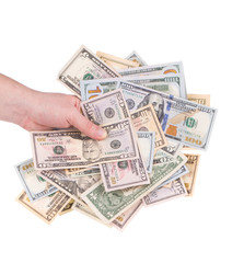 Hand holding dollar banknotes.