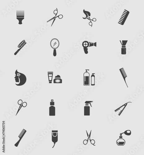 Black Barber Shop Icons - 74065754
