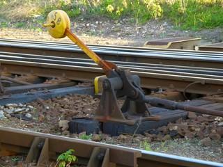 Old yellow train rail shift
