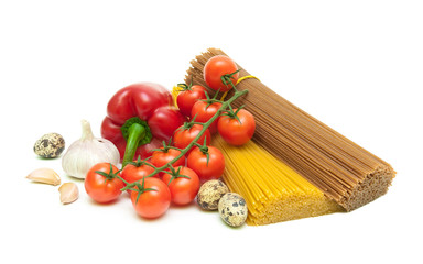 vegetables, quail eggs and pasta isolated on a white background