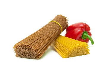 different types of pasta and sweet pepper isolated on white back