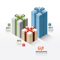 Modern gift box infographics elements. Design Vector illustratio