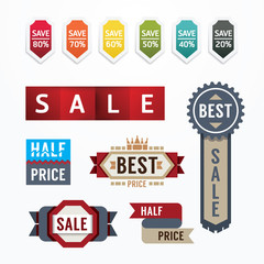 Sale tags banners vector set. Design concept for mobile shopping